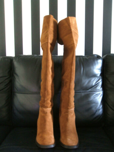 RRP £210 CARVELA KG WISH SIZE 3 4 6 7 BLACK TAN REAL SUEDE THIGH OVER KNEE BOOTS