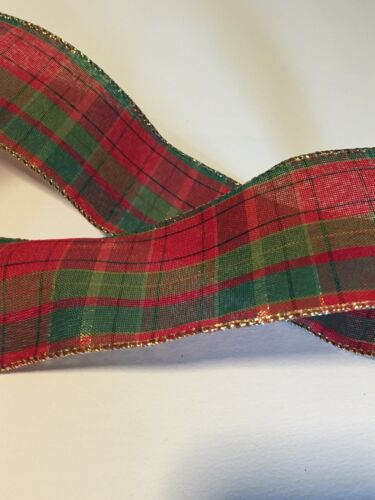 "Red and Green Tartan Plaid Christmas WIRE EDGED RIBBON 2-1//2/"" x 5 Yards"