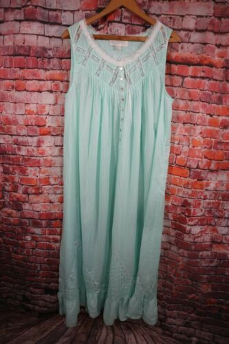 Eileen West Moonlight Sonata Long Nightgown Mint G