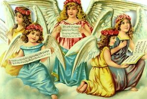 1870-039-s-80-039-s-Lovely-Singing-Christmas-Angels-Die-Cut-Victorian-6-1-4-034-X-9-1-4-034-T