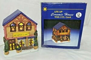 Christmas-Village-Lite-Up-Ceramic-House-General-Store-UL-3-039-Cord-6-034-H-x-5-034-W-w-Box