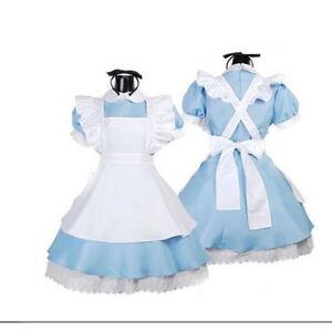 Hot Alice In Wonderland Anime Cosplay Costume Lolita Dresses Maid