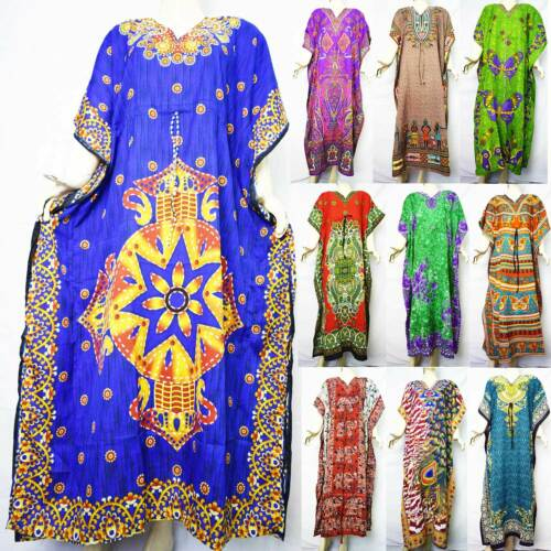 Loose Summer Boho Abito Beach da Wear donna Kaftan Indian di qw8zFv