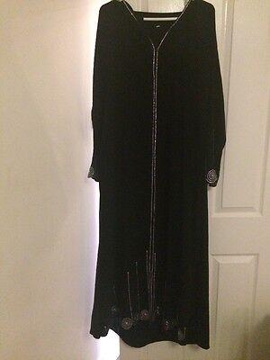 Amichevole Ladies Taglia Large Abaya Nero Con Sciarpa- Beneficiale Per Lo Sperma