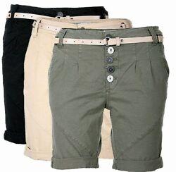 Urban surface Damen Shorts Kurze Hose Chino Sommer Bermuda Capri Short Lang 466Z
