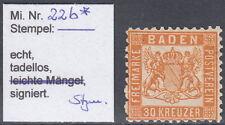 Baden: 1862, 30 Kr., Falzrest und voller Originalgummi   Mi.Nr.22b *   #231