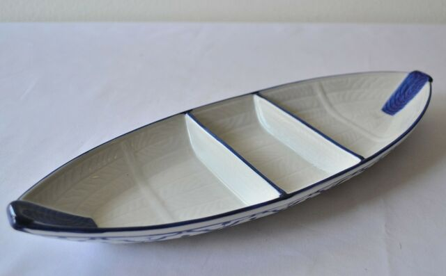 "CERAMIC Boat Shaped PLATE #4 Thai Asian Blue White PLATTER 14.5""x5.5"" MICROWAVE"