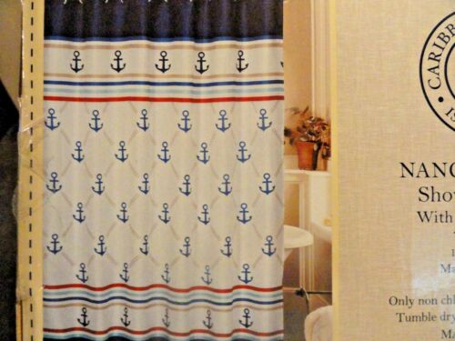 New 13 pc Ocean NAUTICAL Sail Boat ANCHORS blue~red~white Fabric SHOWER CURTAIN
