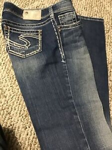Condition excellente 34 Ladies 25 Taille Amidonné Silver X Jeans 0qXx68