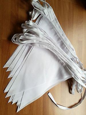10m Bianco Bunting Matrimoni Vintage Shabby Chic Fatto A Mano Classica Ed Elegante- Servizio Durevole
