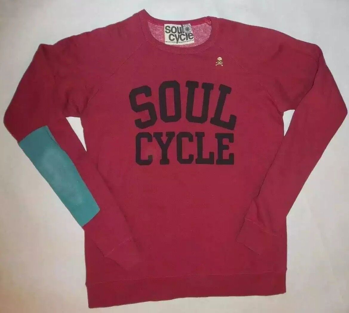 SOULCYCLE RED SWEATSHIRT gold SKULL EAST WEST WHEEL LOUNGE SPIN YOGA DANCE sz S