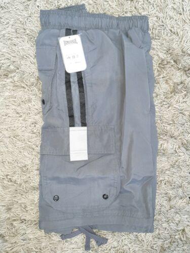 Lonsdale Para Hombre Pantalones Cortos de Carga Gris Carbón Negra BNWT Uk Rrp £ 22.99