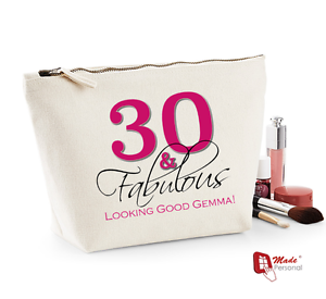Image Is Loading Personalised Make Up Wash Bag 30th Birthday Gift