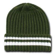 Olive Green & White Sweater Stripe Beanie Beanies Winter Ski Skull Cap Hat Hats