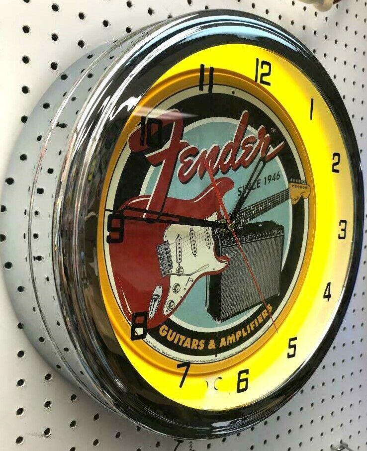 16  FENDER GUITAR Metal Sign Gelb Neon Wall Clock Amplifier Music Studio
