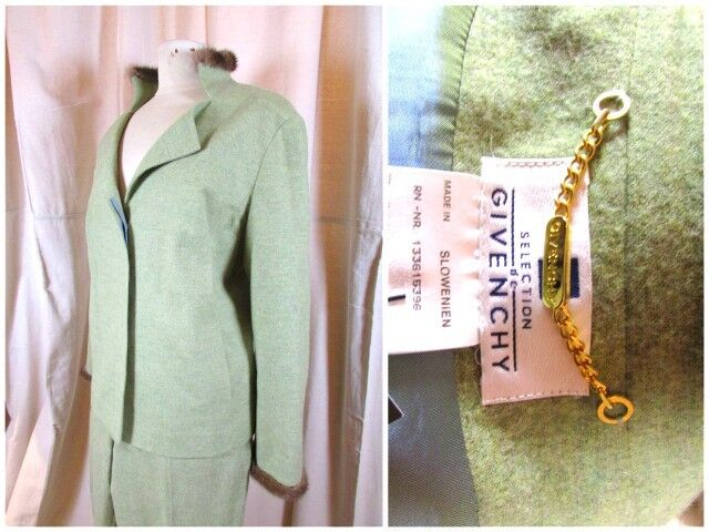 Authentic Women's Givenchy Fur-Trimmed PantSuitUS 14L-XLLeaf Green Soft Wool