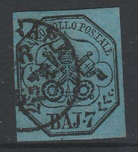 FRANCOBOLLI-1852-STATO-PONTIFICIO-7-BAJ-AZZURRO-Z-4874