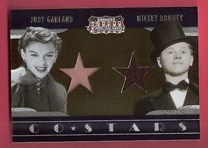 JUDY-GARLAND-amp-MICKEY-ROONEY-WORN-RELIC-SWATCH-MATERIAL-CARD-2009-AMERICANA-250