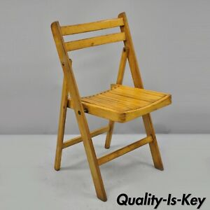 Amazing Details About Vintage Wood Slat Seat Mid Century Modern Folding Dining Game Chairs Theyellowbook Wood Chair Design Ideas Theyellowbookinfo