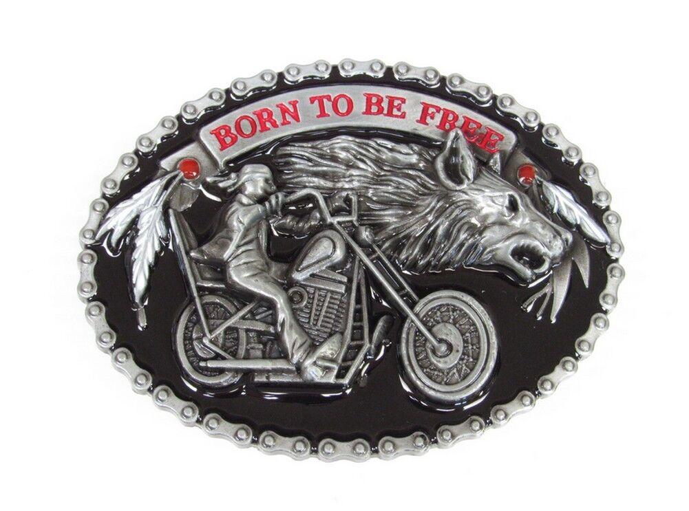 Gürtelschnalle Stil Kette Muster Biker Motorrad Mit Kopf Halbmaske