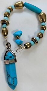 Blue-Howlite-with-Turquoise-Chips-Pendulum-Reiki-blessed-hand-crafted