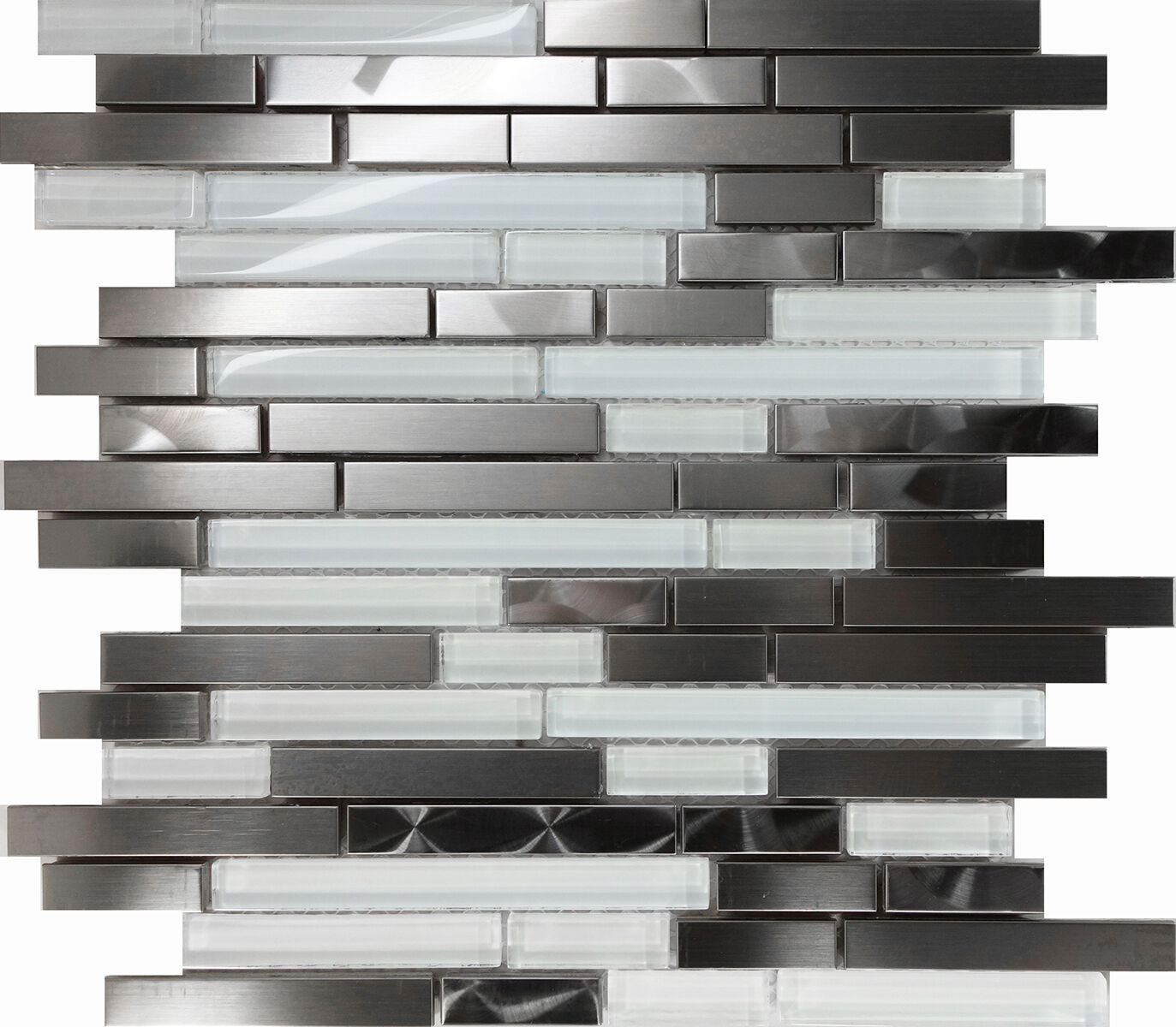 - 10SF Stainless Steel Brushed Nickel Swirl Glass Mosaic Tile