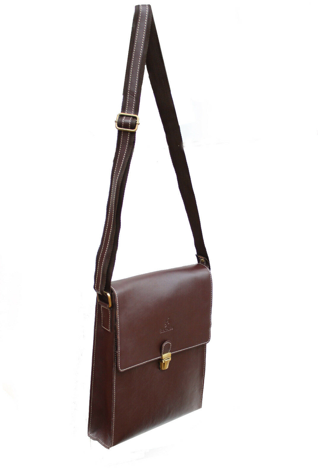 Women Brown Genuine Leather Travel Messenger Cross Body Shoulder Bag