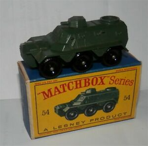 1960s..matchbox.lesney.54 Armée de transport de troupes sarrasine Tank.mint In Box.orignl