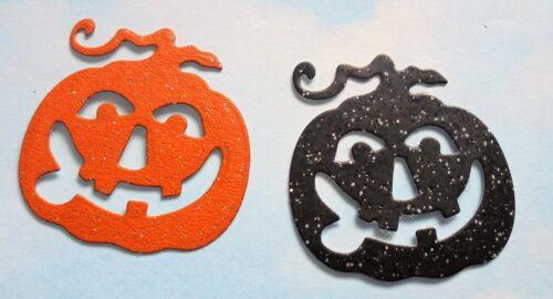 black // orange glitter Die Cut Halloween pumpkins x 8 card making, topper