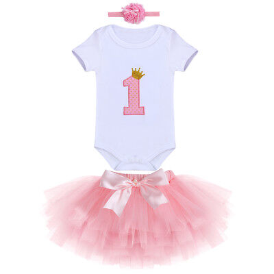 Baby Mädchen Erster Geburtstag Party Outfit Tutu Rock Strampler Stirnband Set