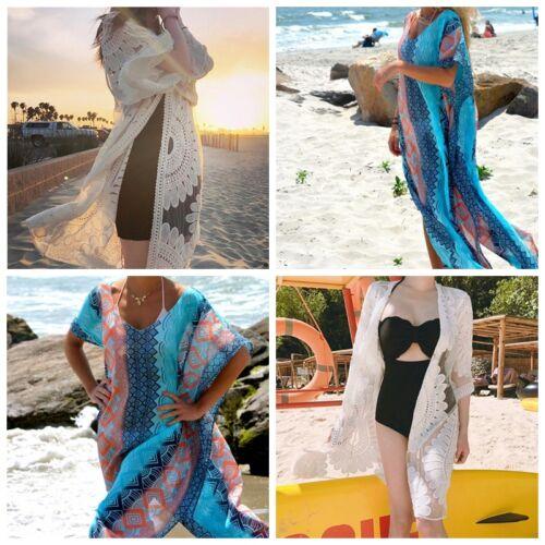 Damen Bikini Cover Up Spitze Bademode Beachwear Bekleidung Strandkleid Lang
