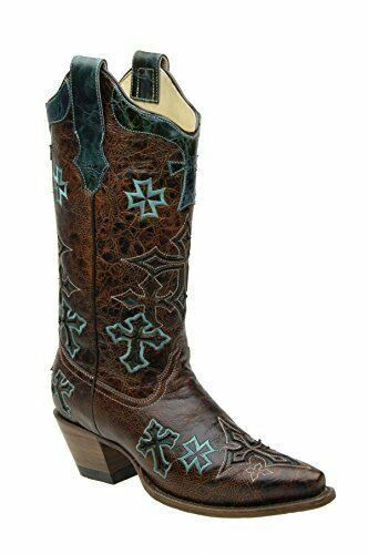 CORRAL Women's Whiskey Turquoise Three Cross Vamp and Tube Snip Toe Boot R1019