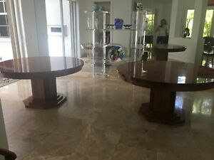 Details about Set of 2 Round Wooden Art Deco Dining Room Tables