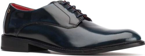 Base London BEXLEY Mens Hi Shine Leather Formal Evening Smart Derby Shoes Navy