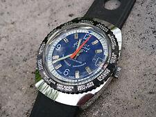 Vintage 1970´s NOS Duxot World Time Swiss Made Date Watch 17 Juwels Blue/Black