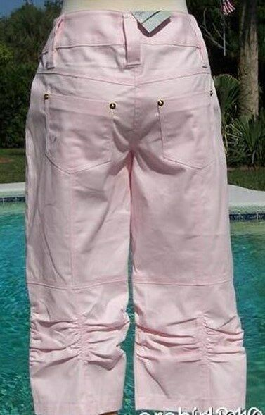 Cache Ruched Denim Jean Dress Pant New Stretch gold Metal Buttons XS S NWT  88