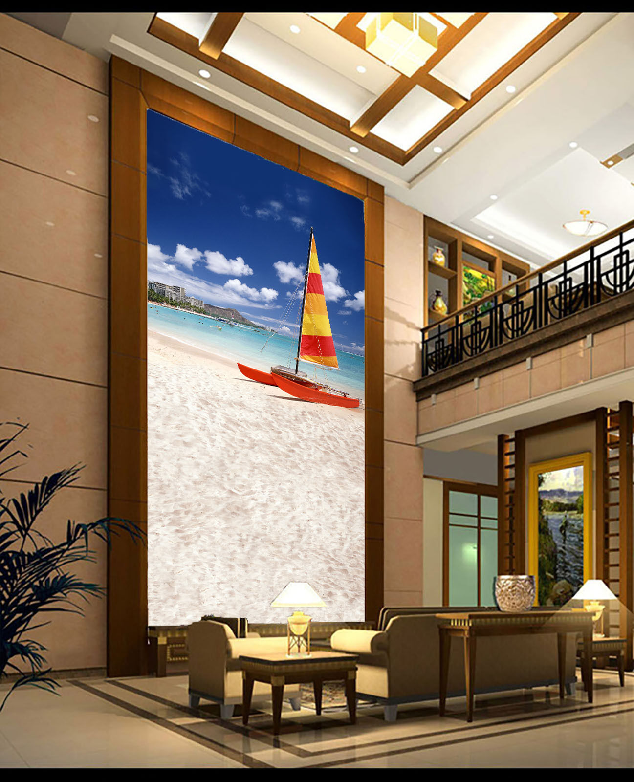 3D Beach Surfing Boat Wall Paper Wall Print Decal Wall AJ WALLPAPER CA