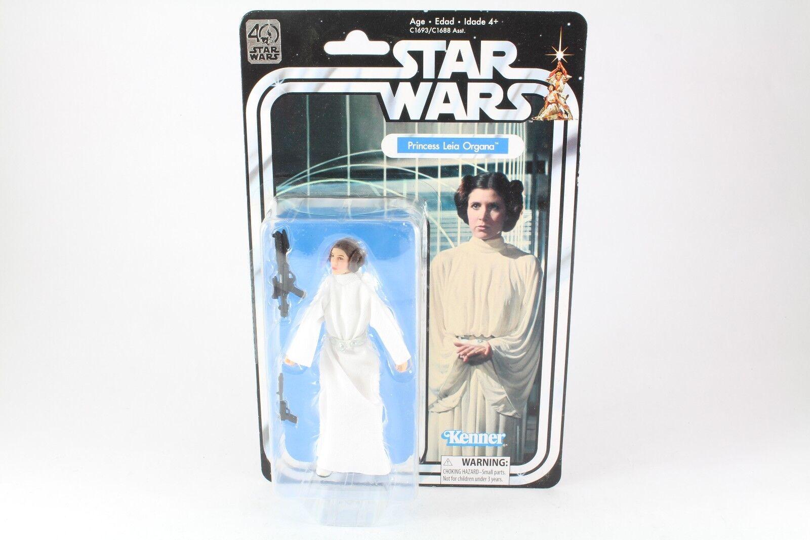 Star Wars Princess Leia Organa 6  MOSC New Action Figure schwarz Series 40th