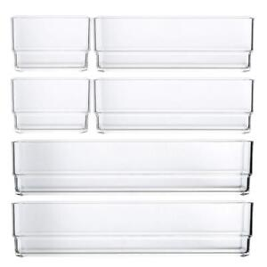 bb567d0b18d8 Details about STORi Clear Plastic Vanity and Desk Drawer Organizers | 6  Piece Set
