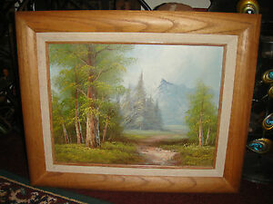 Superb-Oil-Painting-On-Canvas-Signed-Morris-Mountains-Trees-Forest-Oak-Frame