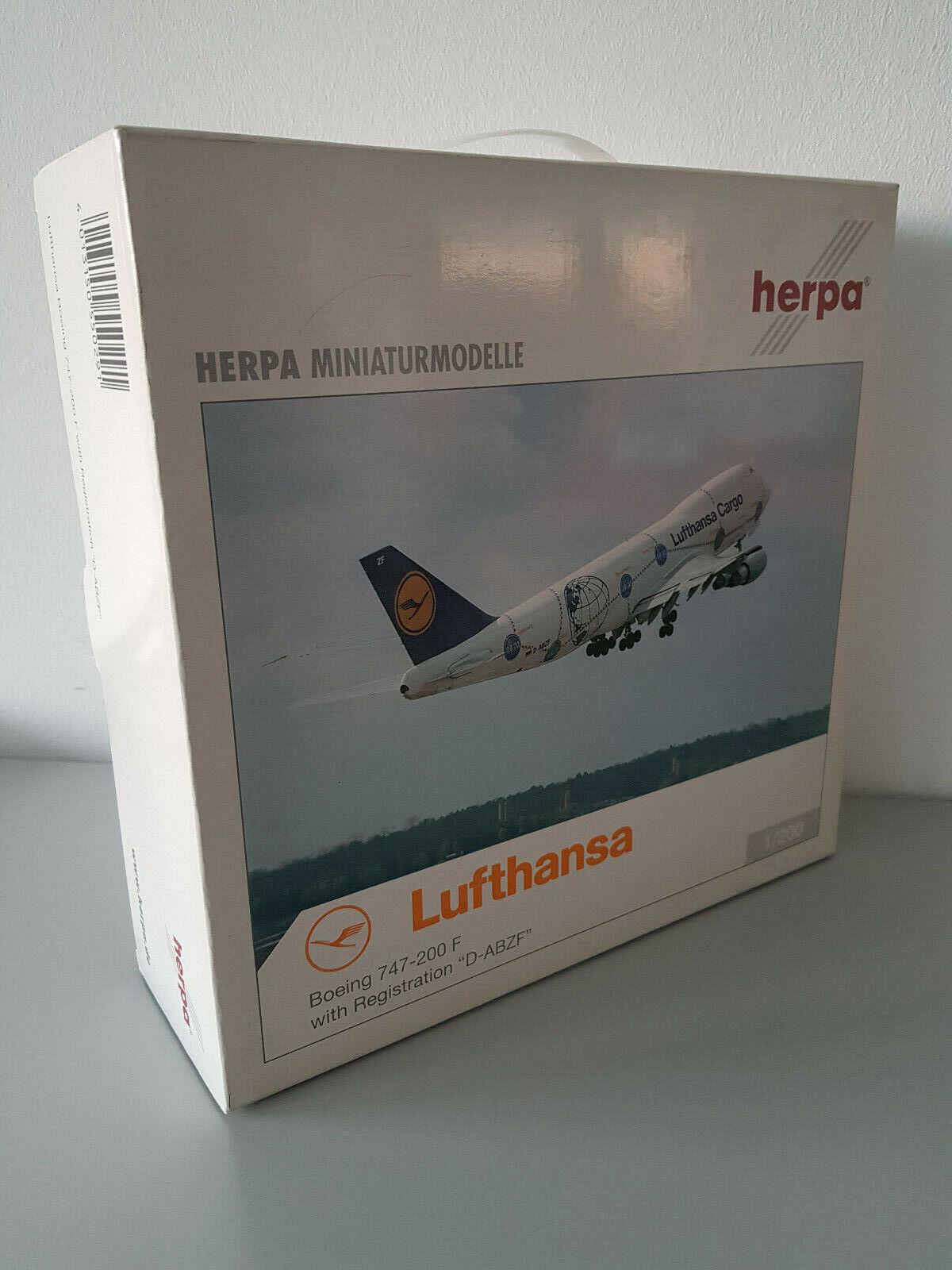 1 200 Herpa Wings 550291 Lufthansa Cargo Boeing 747-200 F service Reg. D-Abzf NEUF