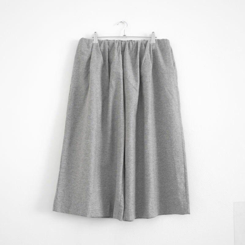 HOF115  COS Hose wolle grey melange   Wide melange trousers wool grey 40