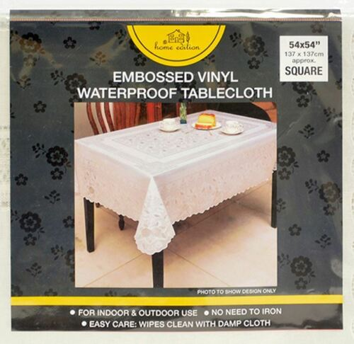 environ 137.16 cm Vinyle Blanc 54 x 54 in en Relief Dentelle Nappe De Table Housse Motif un