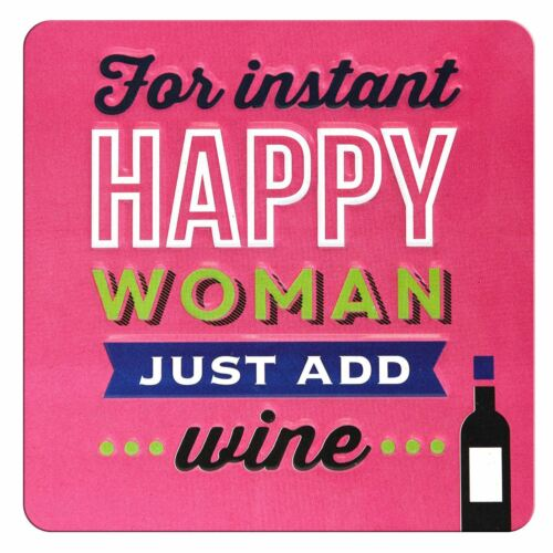 TIN MAGNET FOR INSTANT HAPPY WOMAN JUST ADD WINE