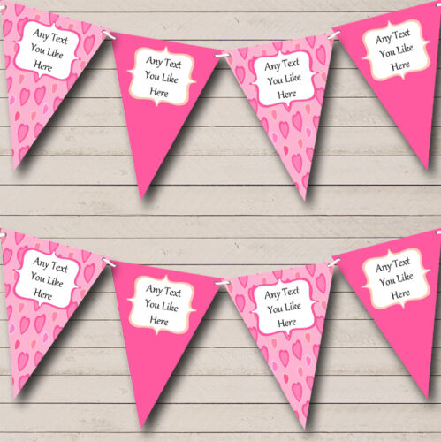 Love Hearts Pink Personalised Children/'s Birthday Party Bunting Banner Garland