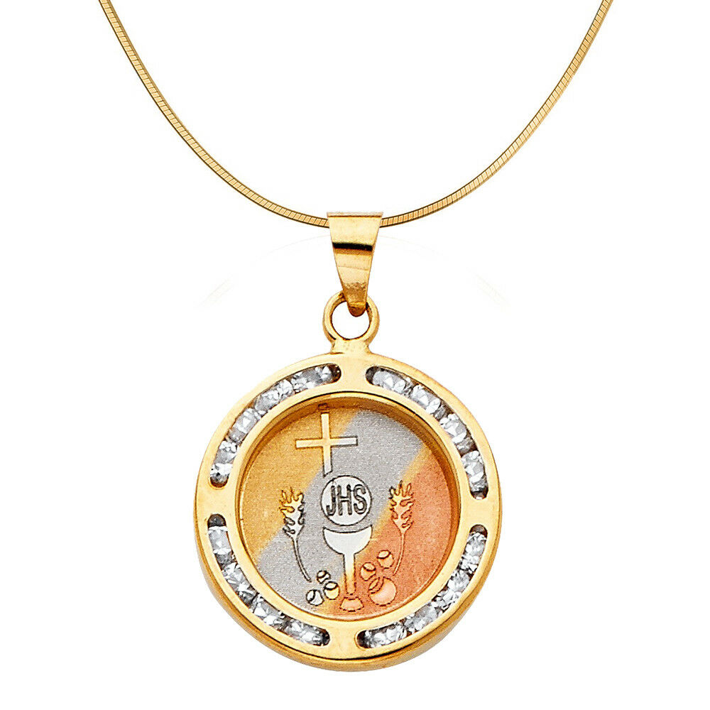 14k Tri-tone gold Cubic Zirconia Holy Communion Pendant with 0.90-mm Wheat Chain