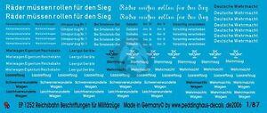 Peddinghaus-1-87-HO-Various-Reichsbahn-DRB-Military-Train-Markings-WWII-1252