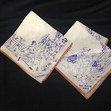 Lot 2 Vtg Antique Childs Silk Storytelling Fairytales hankies Handkerchiefs