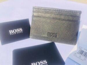 Hugo-Boss-Men-039-s-Baz-card-039-Black-Leather-Card-Holder-Wallet-Style-No-50248896