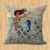 Us Seller- Home Decoration Cover Throw Pillows Mermaid Cushion Cover